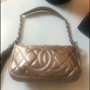 Auth CHANEL Metallic Gold/Silver Caviar Tassel Bag